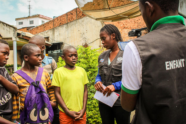 Child reporters interviewing child street vendors, Lubumbashi, DRC