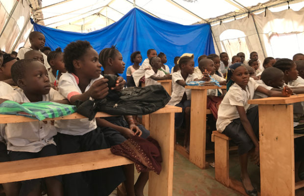 Attending school in UNICEF tents after the violence in Kasai