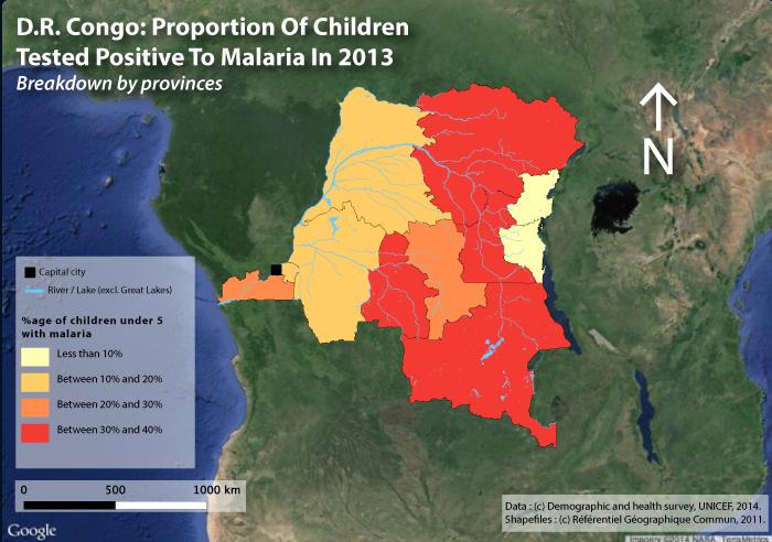 savoir pour sauver paludisme DRC : proportion of Children tested positive to malaria